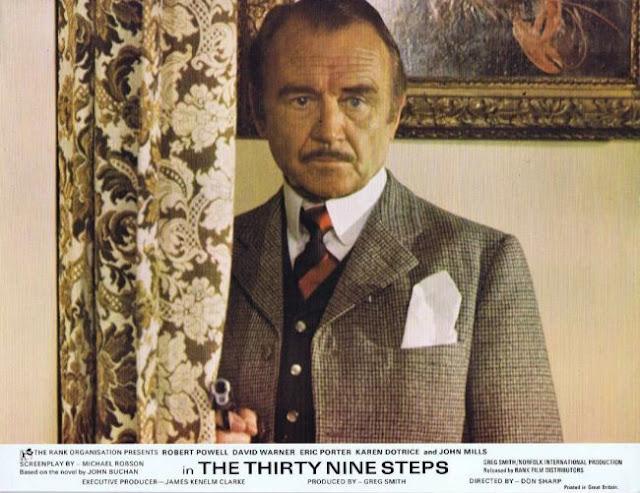 John Mills on a British lobby card for The Thirty Nine Steps