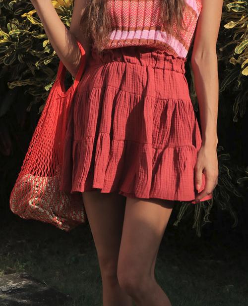 Solid Tone Crinkled Elastic Waist Skirt