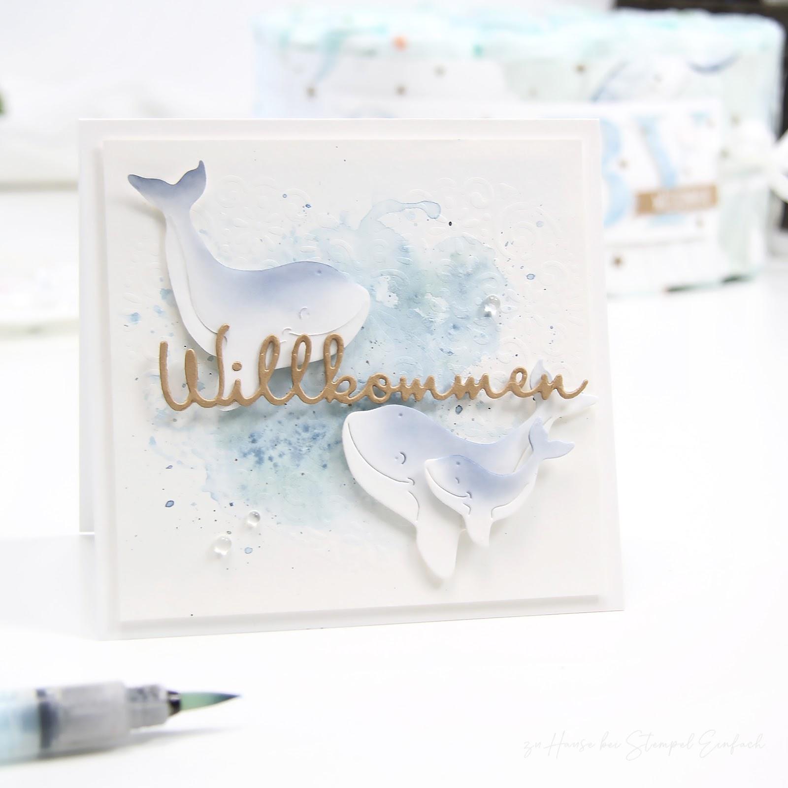 babykarte mit walen von alexandra renke