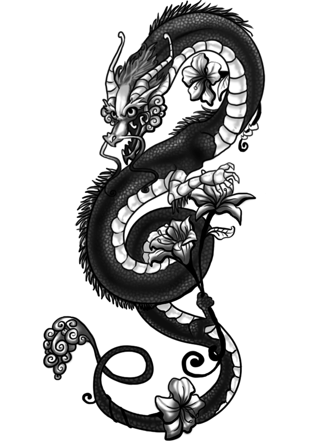 Dragon Tattoo With Flowers: Tattoo Gallery Designs
