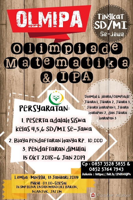 Olimpiade Matematika Dan IPA OLMIPA 2019 SD