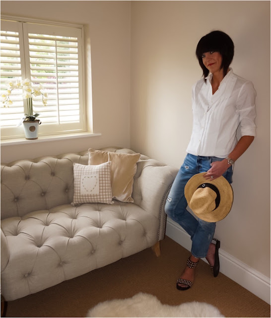 My Midlife Fashion, J Crew Thomas Mason Tuxedo shirt, zara distressed cigarette straight leg jeans, ash monoi sandals, coco bay seafolly straw fedora