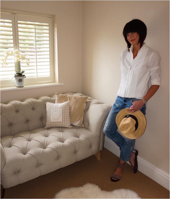 My Midlife Fashion, J Crew Thomas Mason Tuxedo shirt, zara distressed cigarette straight leg jeans, ash monoi sandals, coco bay seafolly straw fedora
