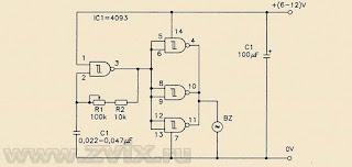 На рисунке изображена схема простого генератора звука на микросхеме CD4093