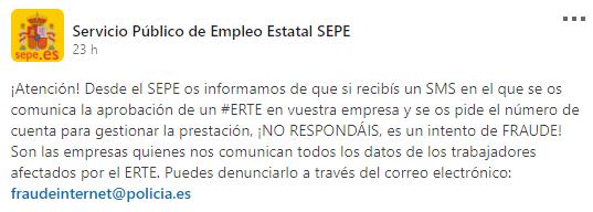 """Detectada una campaña fraudulenta de mensajes SMS con asunto """"ERTE"""""""