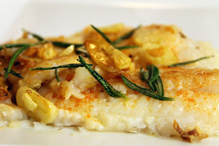 Pan-Seared Flounder with Fried Rosemary and Garlic