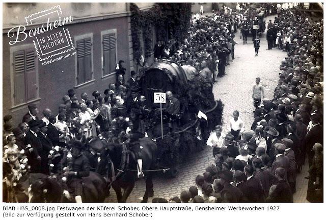 BIAB HBS_0008.jpg Festwagen der Küferei Schober, Obere Hauptstraße, Bensheimer Werbewochen 1927, Bilder zur Verfügung gestellt durch Hans Bernhard Schober