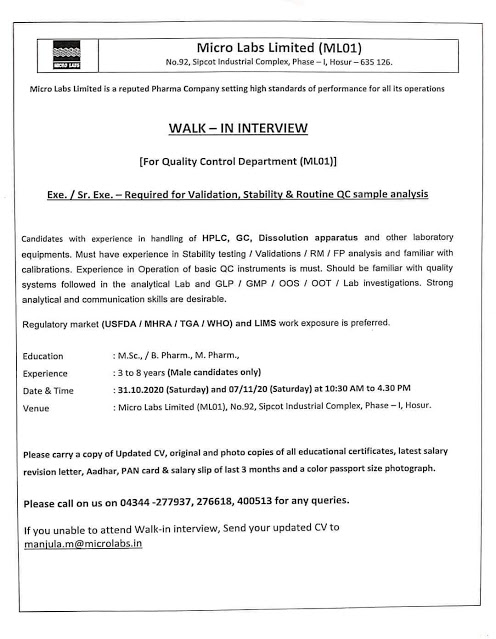 Micro Labs | Walk-In interview for QC on 31 Oct & 7 Nov 2020 at Hosur