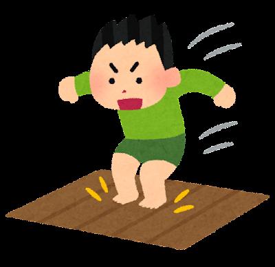 床にジャンプする男の子のイラスト(事故)
