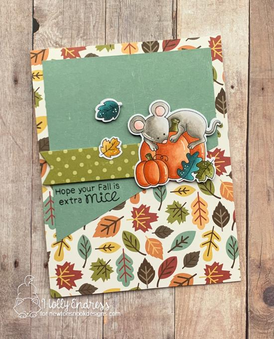 Fall Mouse Card by Hollly Endress | Autumn Mice Stamp Set by Newton's Nook Designs #newtonsnook #handmade