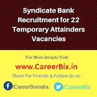 Syndicate Bank Recruitment for 22 Temporary Attainders Vacancies