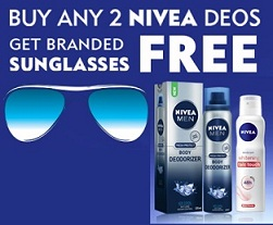 Buy any Two Nivea Deos from the Selected Range and Get Sun Glass Wayfarer worth Rs.499 Free @ Bigbasket