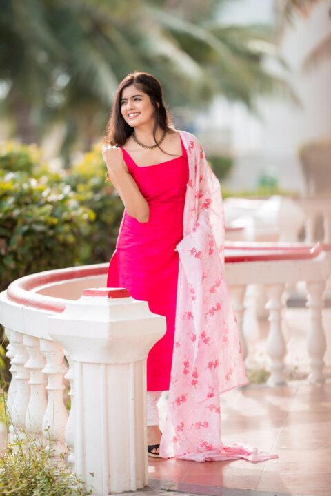 Amritha Aiyer in Pink Dress Photo