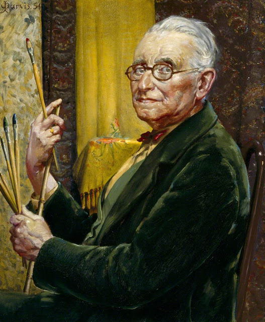 John Milne Purvis, Self Portrait, Portraits of Painters, John Milne, Fine arts, Portraits of painters blog, Paintings of John Milne, Painter  John Milne