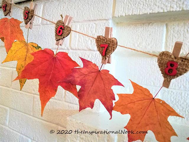 Autumn leaf bunting, Real Fall maple leaf garland, Thanksgiving leaf garland on mantel
