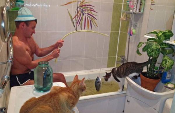 Pescando com meus gatinhos