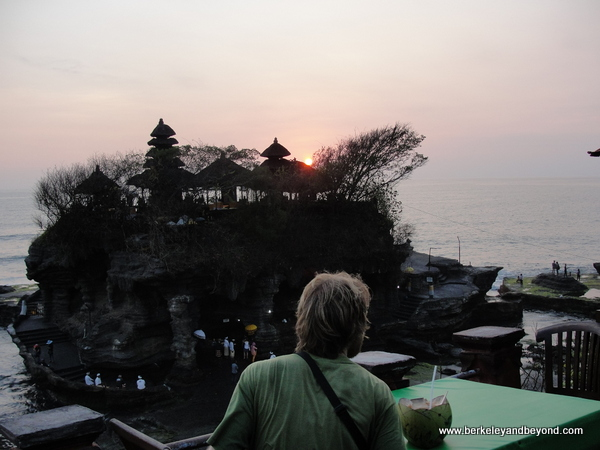 sunset from a cafe at Tanah Lot temple in Bali, Indonesia