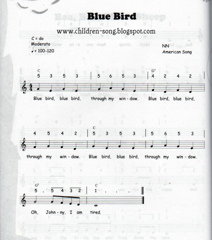 Blue Bird Children Song With Notes Chords