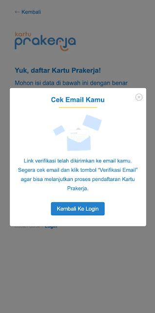 notifikasi daftar akun prakerja; tomatalikuang.com