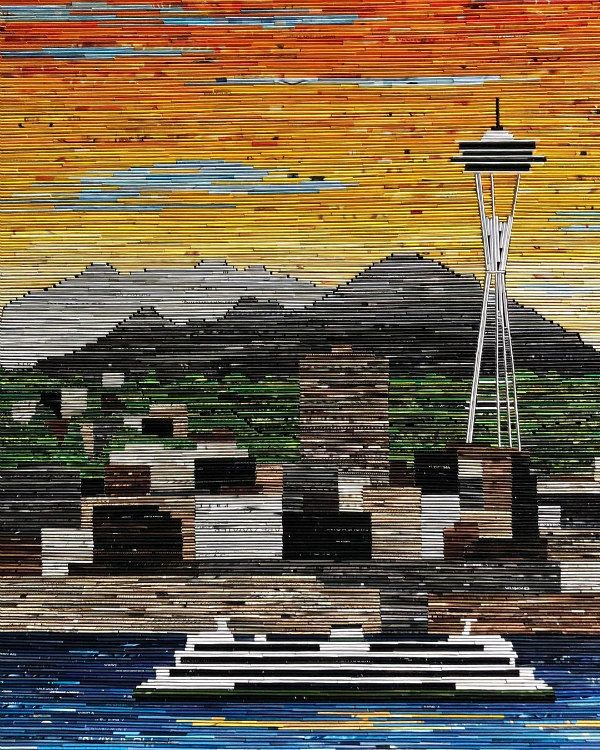 Seattle Space Needle composed of rolled strips of magazine pages