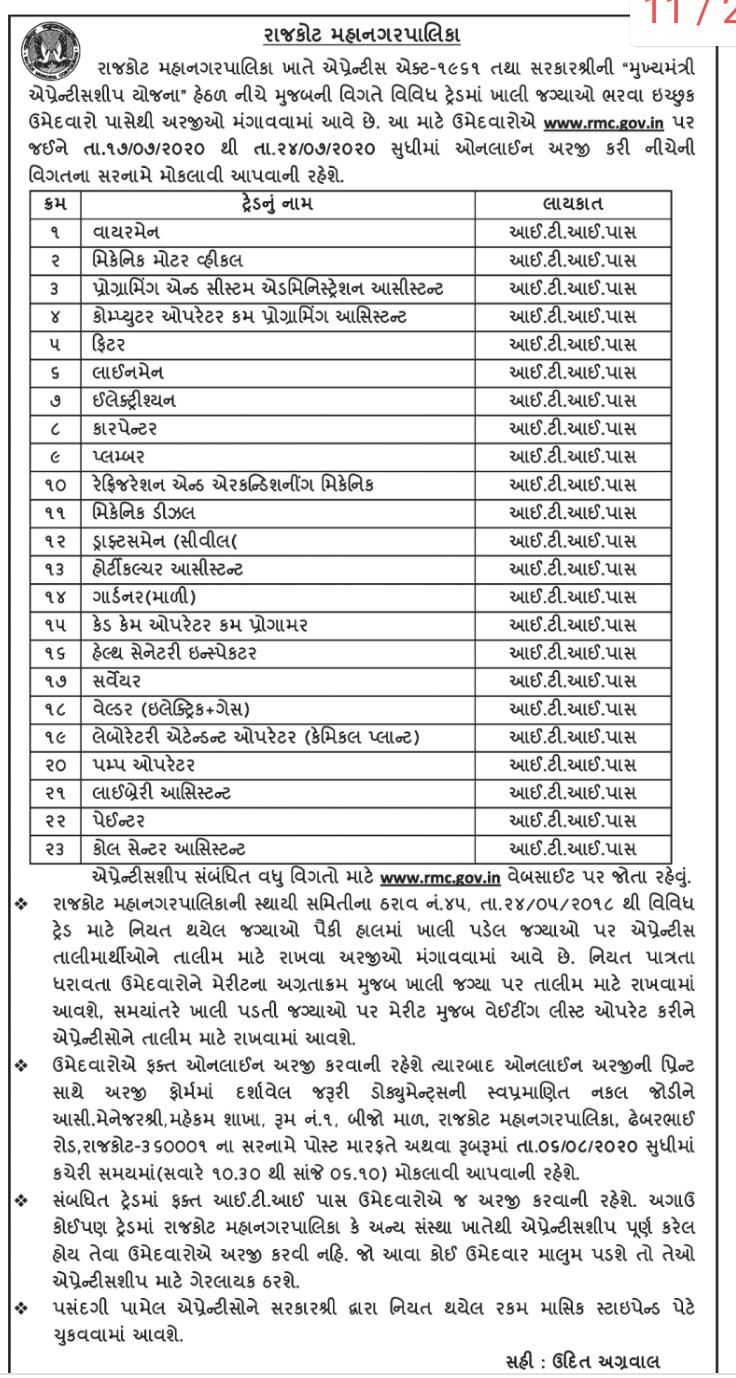 Rajkot Municipal Corporation (RMC) Recruitment 2020