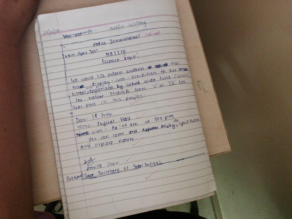 Pis Vadodara Std 7 Notice Writing