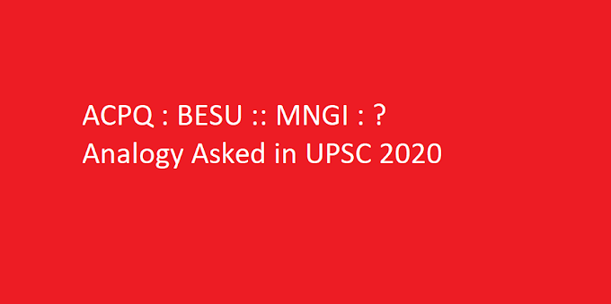 ACPQ : BESU :: MNGI : ? || Analogy Asked in UPSC 2020