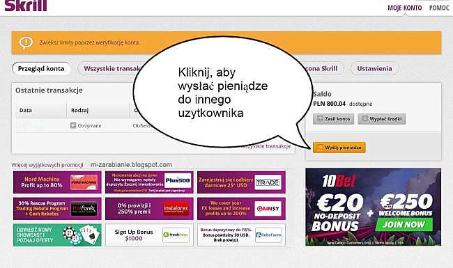 Skrill — Wysyłanie pieniędzy do innych użytkowników