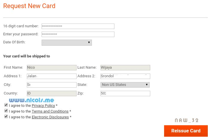 Request New Payoneer card (Reissue)