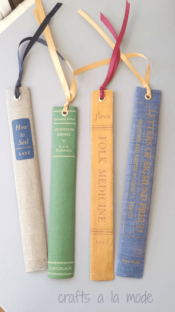 Bookmarks made from the spines of old books.