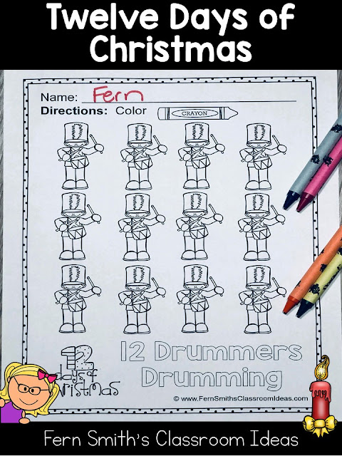 Twelve Days of Christmas Coloring Pages that are part of the larger, Seventy-Five Christmas Coloring Pages to add some joy and fun to your classroom this holiday season! Your Students will ADORE these Coloring Book Pages for Christmas, add it to your plans to compliment any Christmas activity! Seventy-Five {75} Coloring Pages For Some Christmas Fun in Your Classroom from Fern Smith's Classroom Ideas!