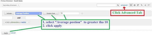 advance tab of google analytics