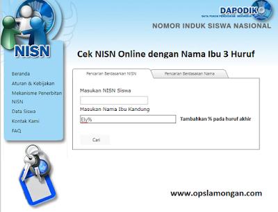 Cek NISN Online dengan Nama Ibu 3 Huruf