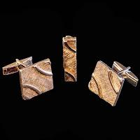 vintage men's cuff links and tie clip