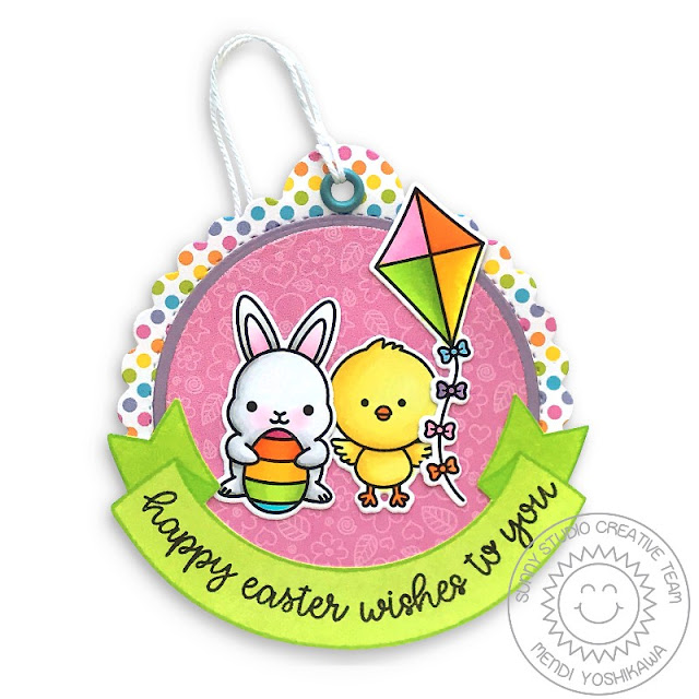 Sunny Studio Blog: Rainbow Polka-dot Easter Bunny & Chick with Kite Gift Tag (using Chubby Bunny, Chickie Baby, Spring Showers & Banner Basics Stamps, Spring Fling Paper & Scalloped Circle Tag)