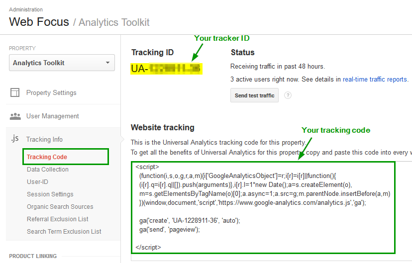 how to add google analytics code in html