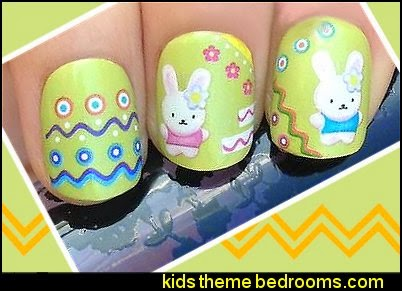 EASTER FLUFFY BUNNY RABBITS FLOWERS NAIL ART WRAP WATER TRANSFER DECALS