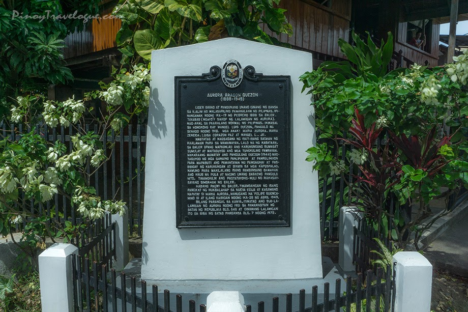 Historical marker dedicated to Aurora Quezon