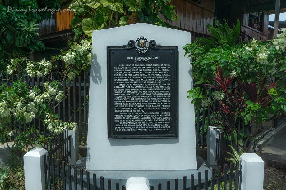 Historical marker dedicated to Aurora Quezon