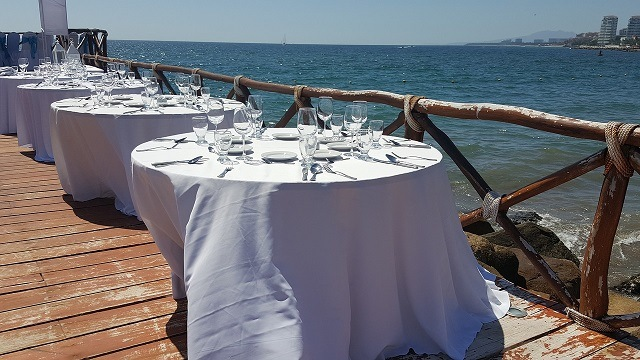wedding tables by sea port