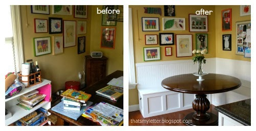 diy kitchen banquette before and after