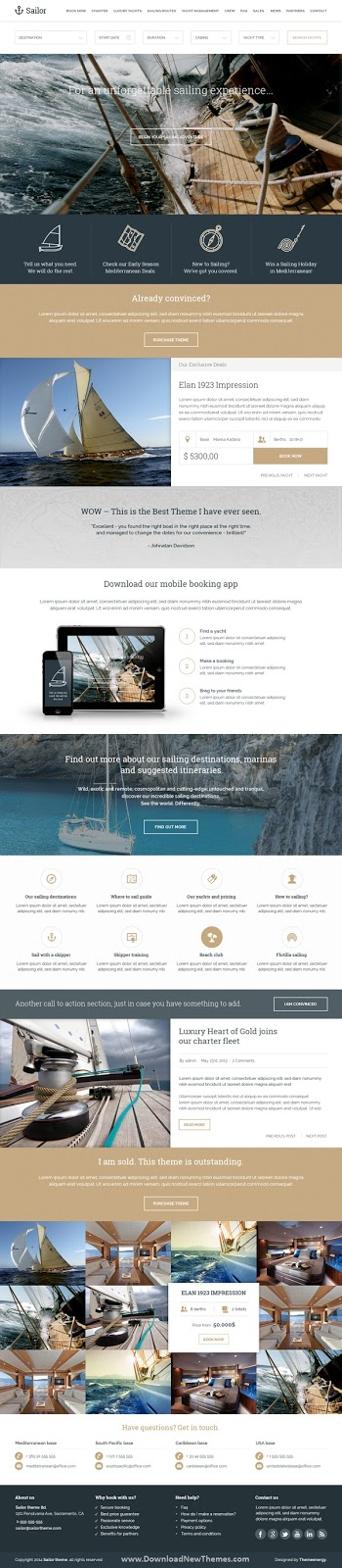 Yacht Charter Booking PSD Template