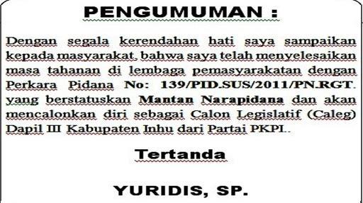 Pengumuman Status Yuridis,SP Calon Anggota DPRD Kabupaten Inhu 2019
