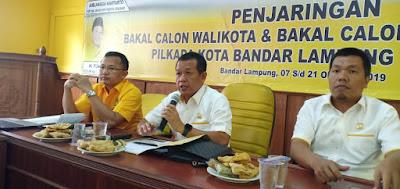 Senin, Golkar Bandarlampung Buka Penjaringan Balon Walikota dan Wakil Walikota