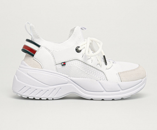 Tommy Hilfiger - Pantofi sport albi din piele