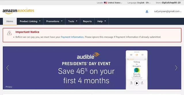 halaman affiliate amazon untuk pemasangan kode iklan di blogger