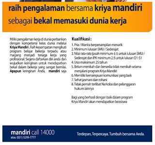 Daftar Lowongan Kerja Bank Mandiri Pacitan Terbaru 2020