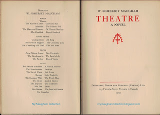 Theatre (1937) by W. Somerset Maugham Title Page and listing