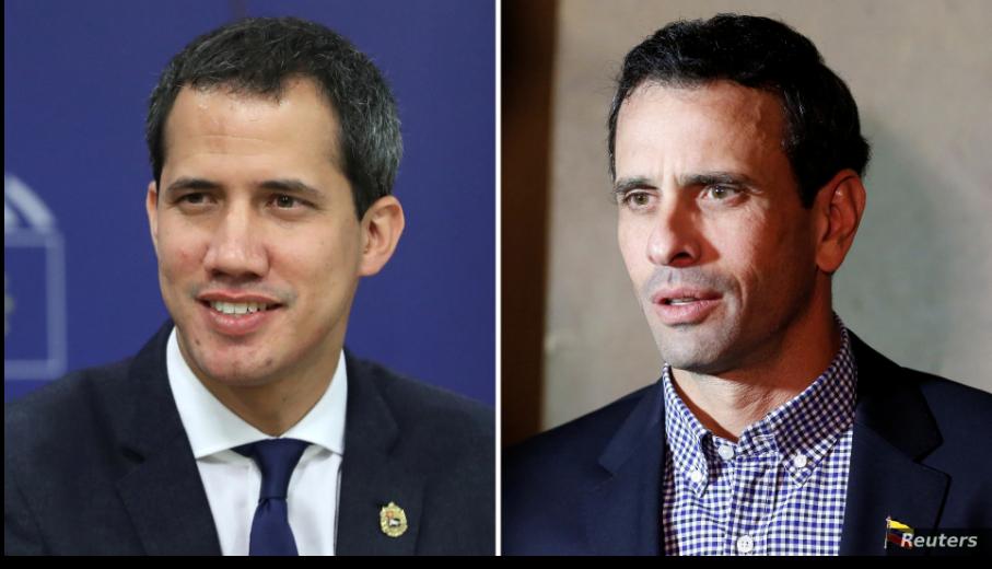 El presidente encargado Juan Guaidó (izquierda) y el excandidato presidencial Henrique Capriles tienen puntos de vistas diferentes sobre cómo proceder ante las elecciones parlamentarias previstas para el 6 de diciembre en Venezuela / REUTERS