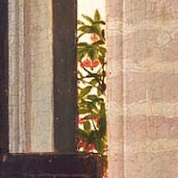 Cherry tree in the Arnolfini Portrait by Jan van Eyck, an indicator for summer and symbolizes fortune of Arnolfini Douple